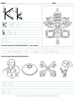 Catholic Alphabet Letter K Worksheet Preschool Kindergarten