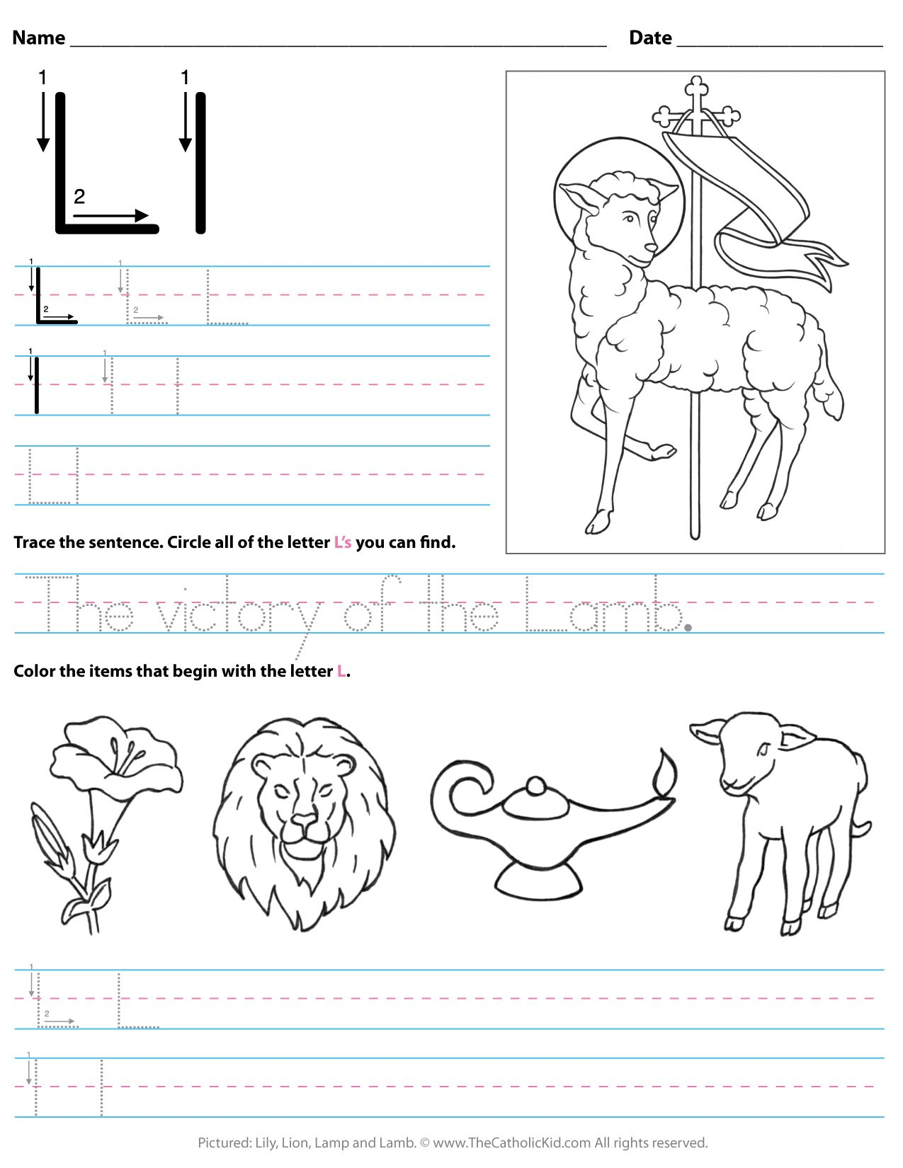 Catholic Alphabet Letter L Worksheet Preschool Kindergarten