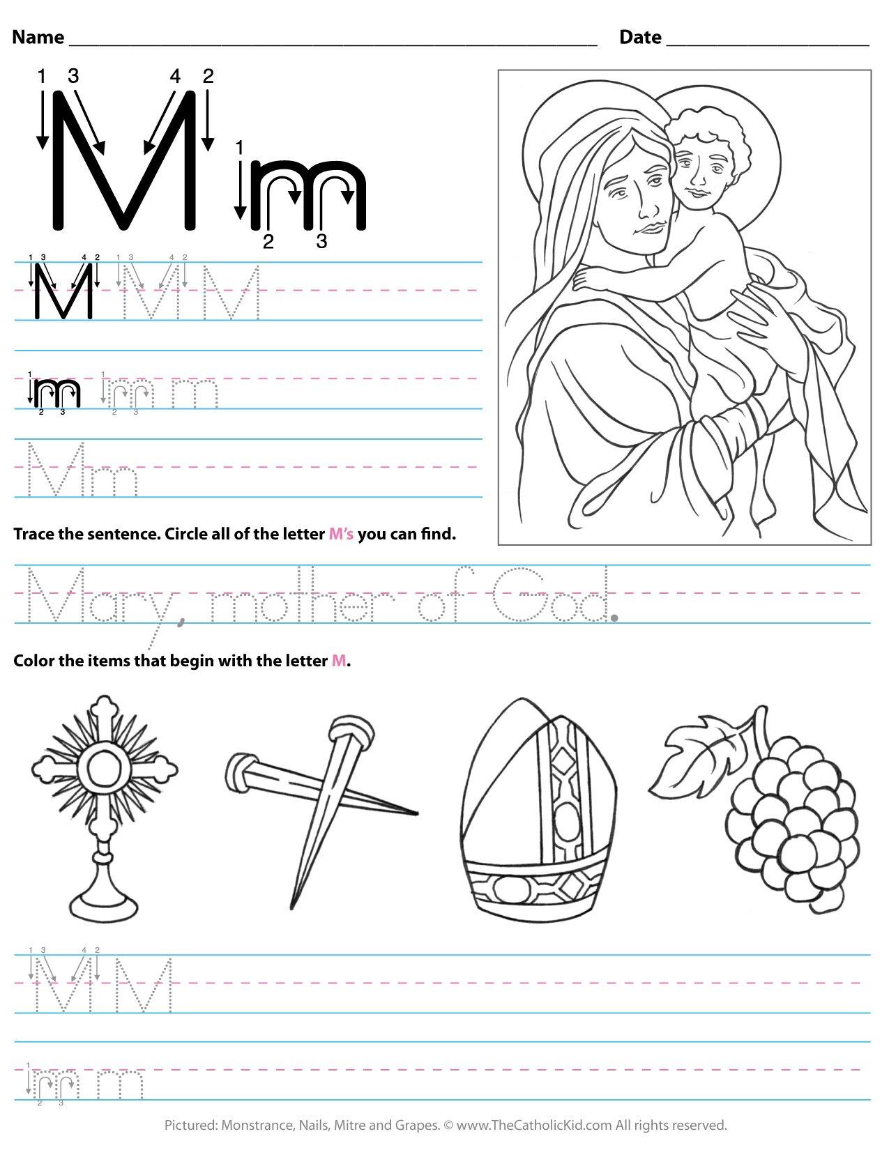 Catholic Alphabet Letter M Worksheet Preschool Kindergarten