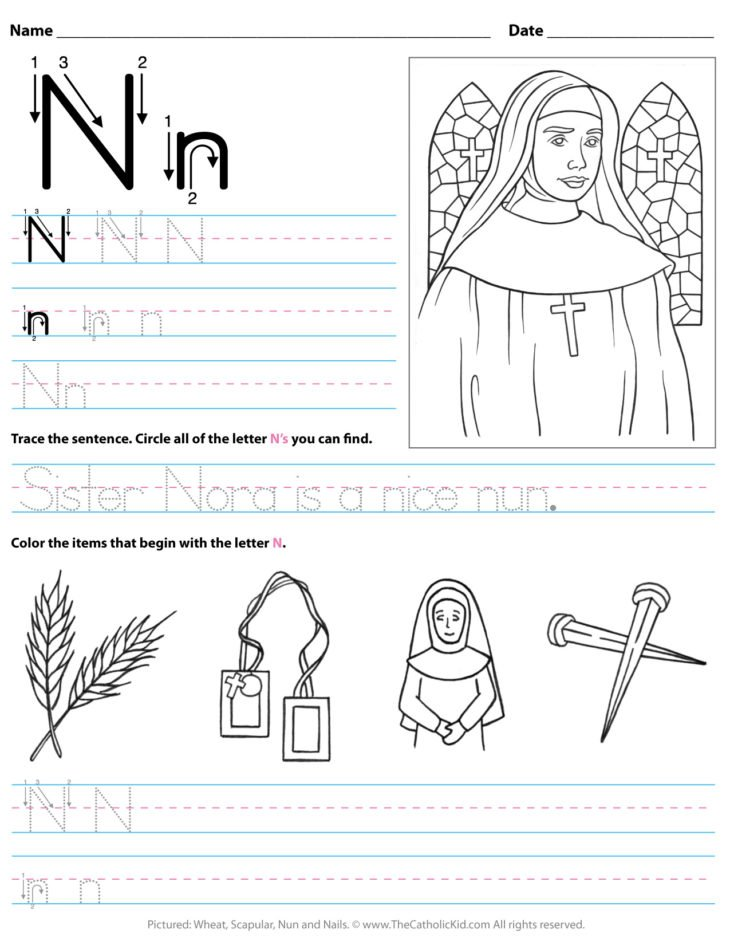 Catholic Alphabet Letter N Worksheet Preschool Kindergarten