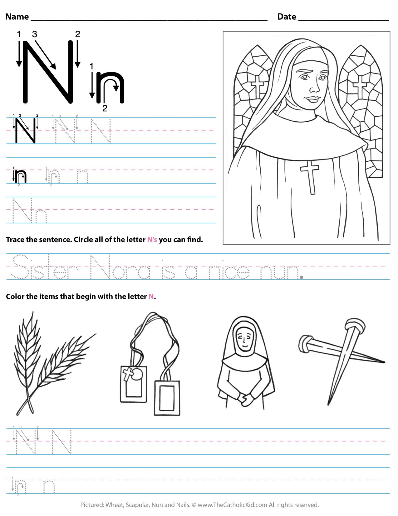 Catholic Alphabet Letter N Worksheet Preschool Kindergarten