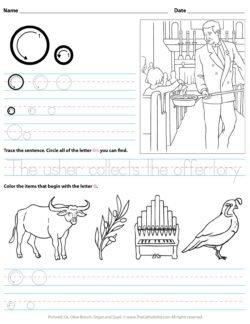 Catholic Alphabet Letter O Worksheet Preschool Kindergarten