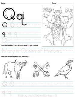 Catholic Alphabet Letter Q Worksheet Preschool Kindergarten