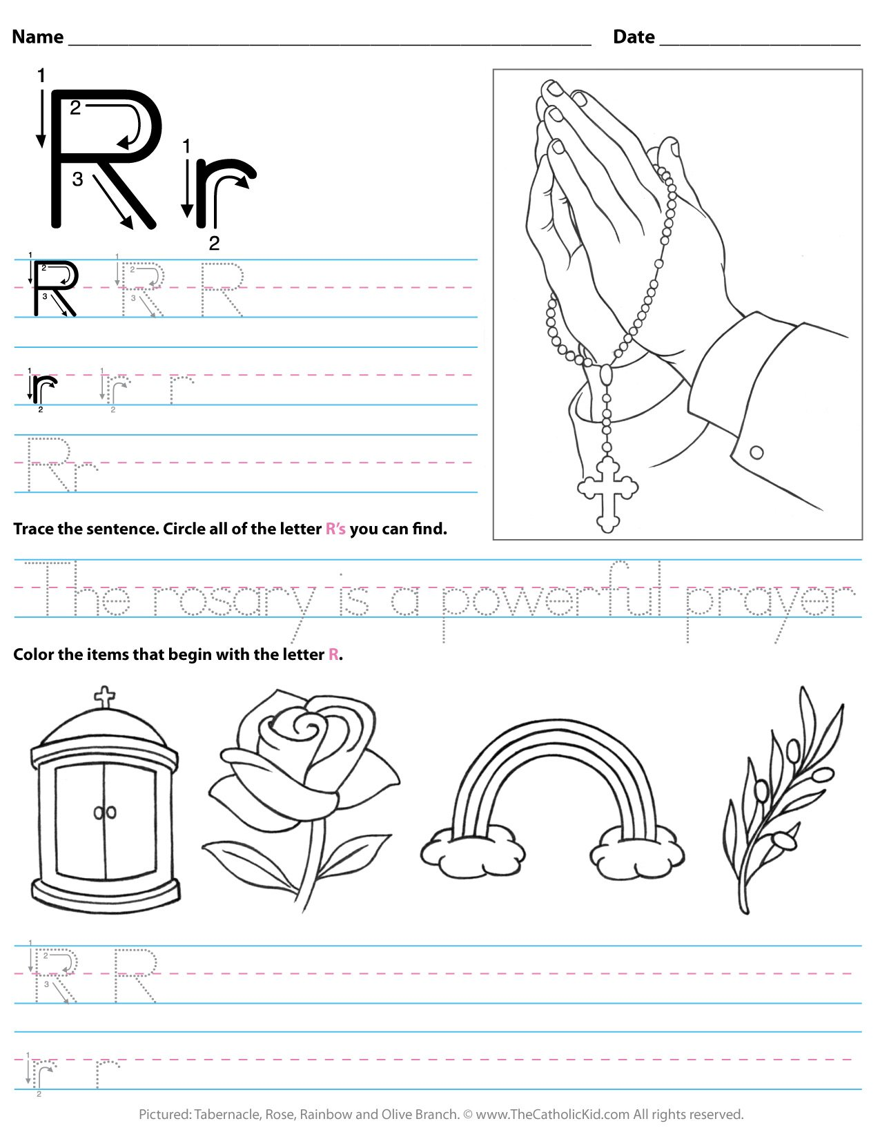 Catholic Alphabet Letter R Worksheet Preschool Kindergarten