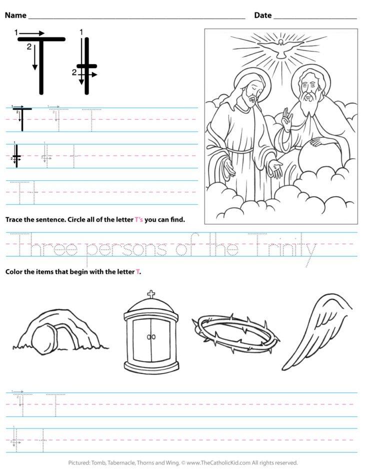 Catholic Alphabet Letter T Worksheet Preschool Kindergarten