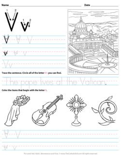 Catholic Alphabet Letter V Worksheet Preschool Kindergarten