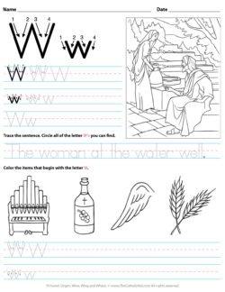 Catholic Alphabet Letter W Worksheet Preschool Kindergarten