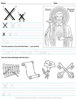 Catholic Alphabet Letter X Worksheet Preschool Kindergarten