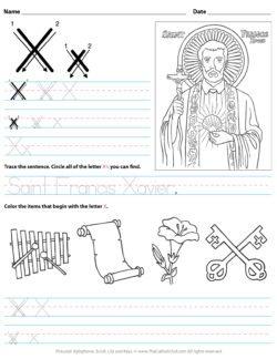 Catholic Alphabet Letter X Worksheet Preschool Kindergarten