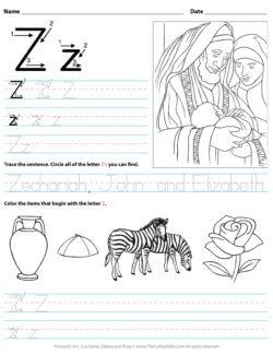 Catholic Alphabet Letter Z Worksheet Preschool Kindergarten