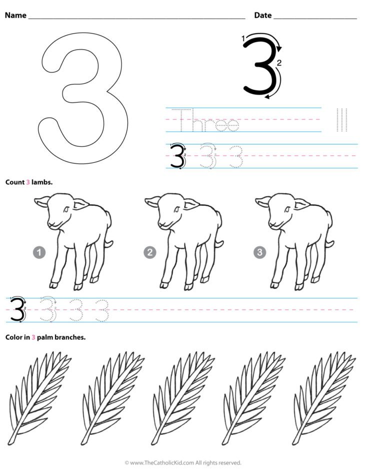 Catholic Number 3 Worksheet Preschool Kindergarten Coloring Page