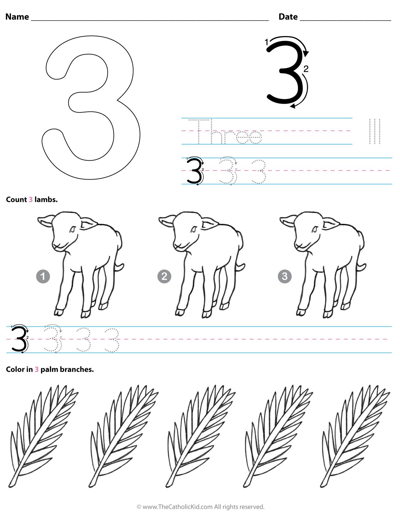 Catholic Number 3 Worksheet Preschool Kindergarten Coloring Page