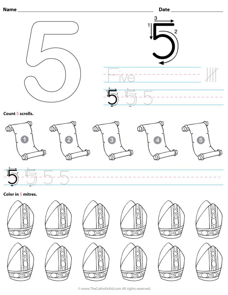 Catholic Number 5 Worksheet Preschool Kindergarten Coloring Page