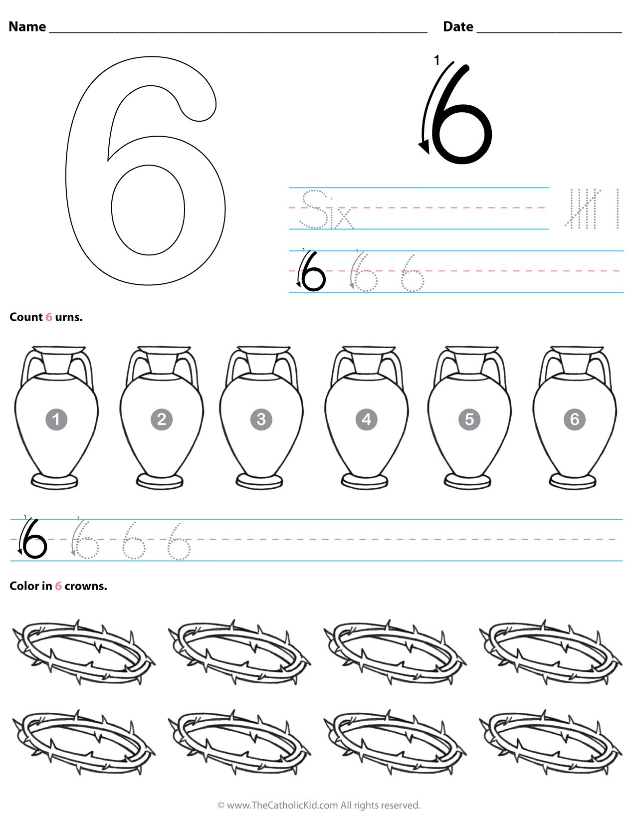 Catholic Number 6 Worksheet Preschool Kindergarten Coloring Page