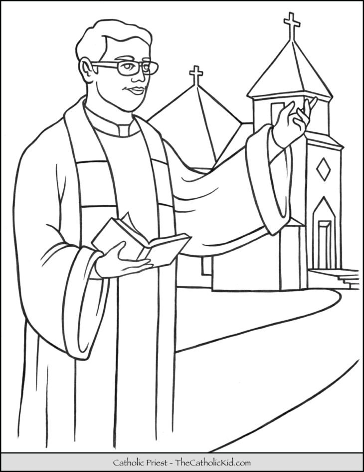 Catholic Priest Coloring Page