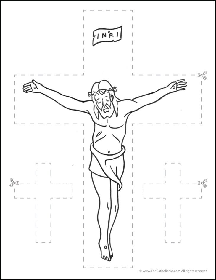 Catholic Scissor Simple Practice Cutting Worksheet Crucifix