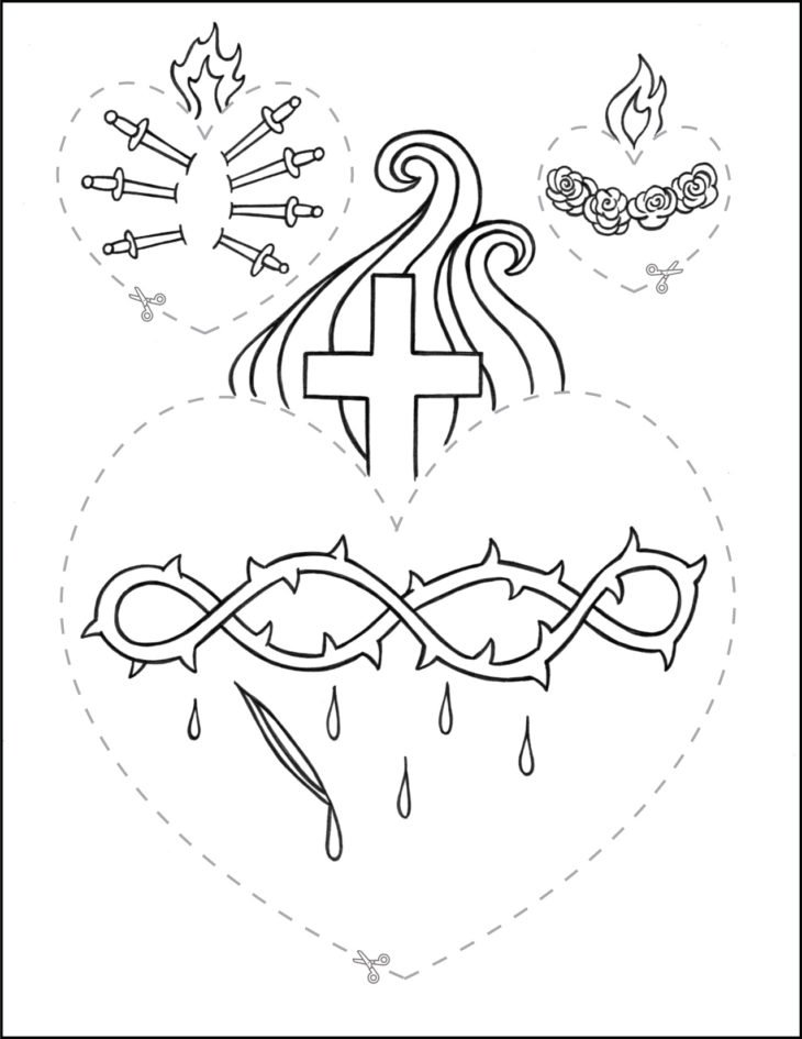 Catholic Scissor Simple Practice Cutting Worksheet Hearts