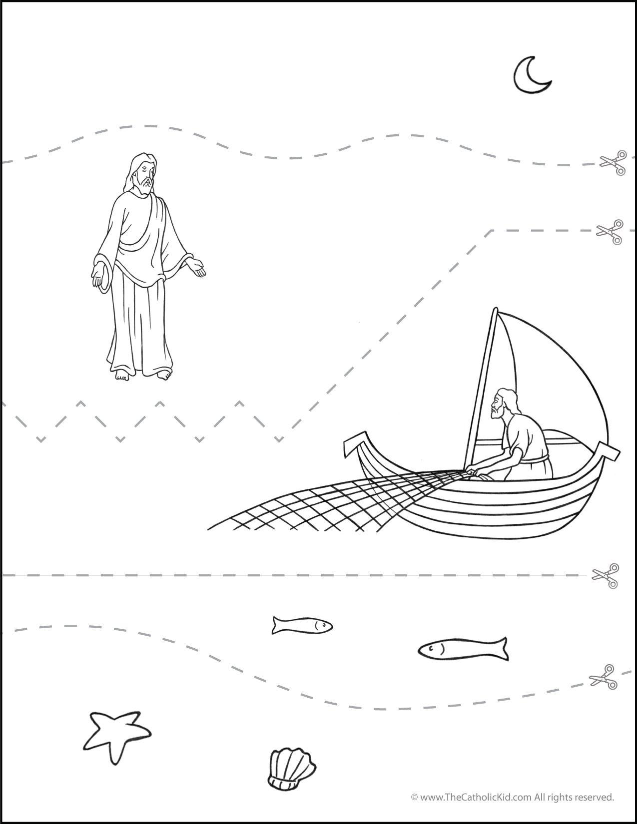 Catholic Scissor Simple Practice Cutting Worksheet Sea of Galilee