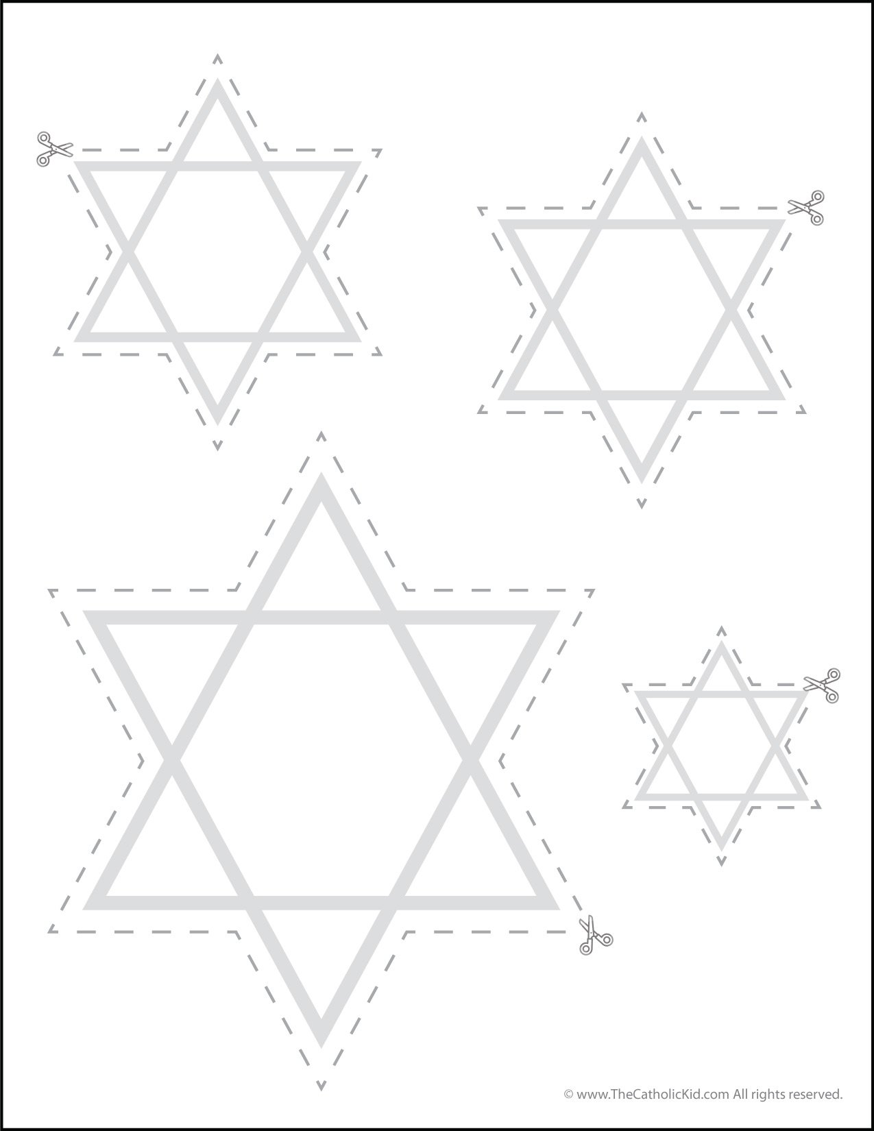 Catholic Scissor Simple Practice Cutting Worksheet - Star of David