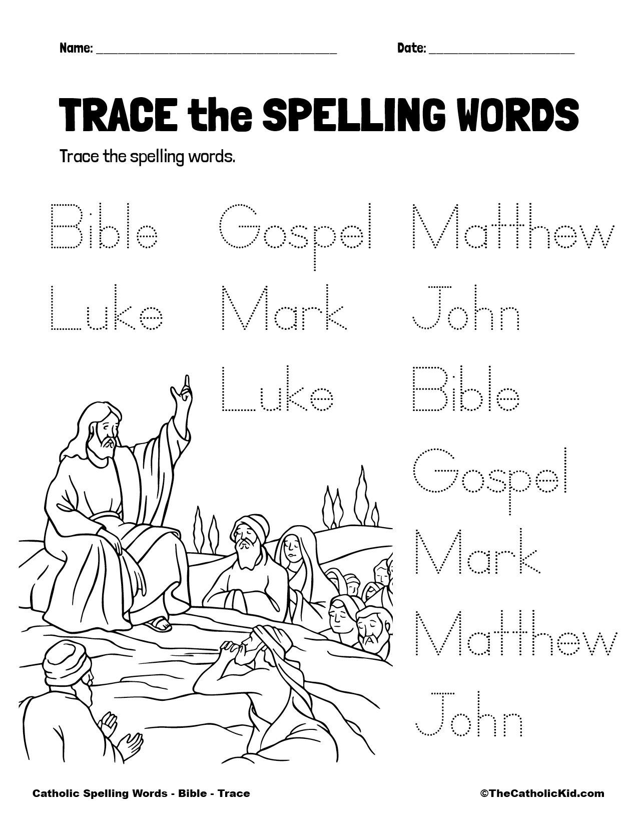 Catholic Spelling & Vocabulary Words Bible Worksheet 2 Trace