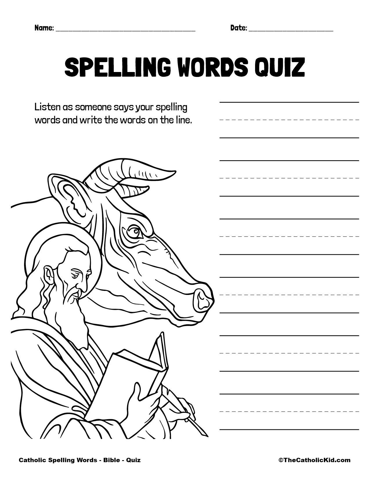 Catholic Spelling & Vocabulary Words Bible Worksheet 5 Quiz