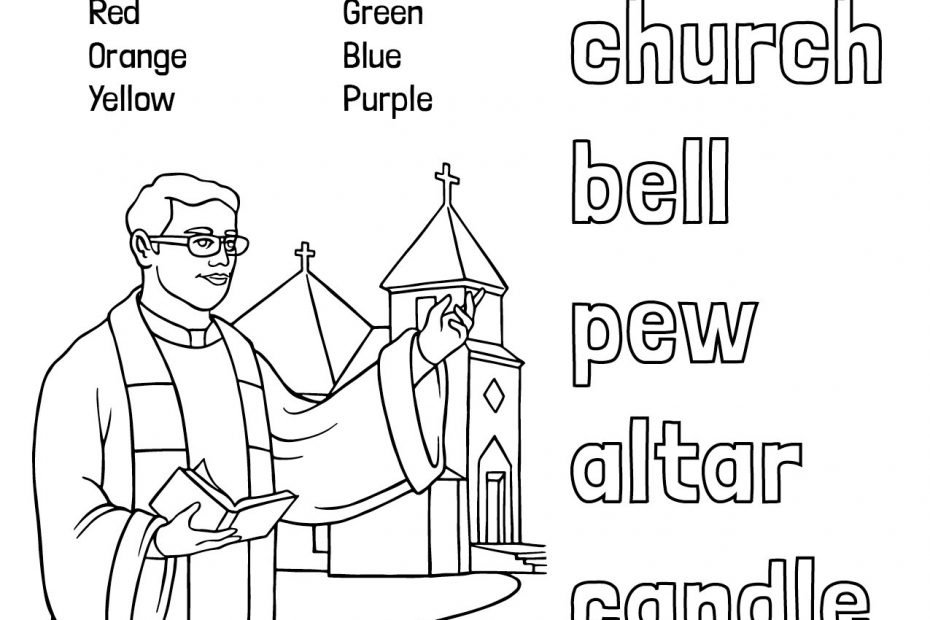 Catholic Spelling & Vocabulary Words Church Worksheet 1 Color