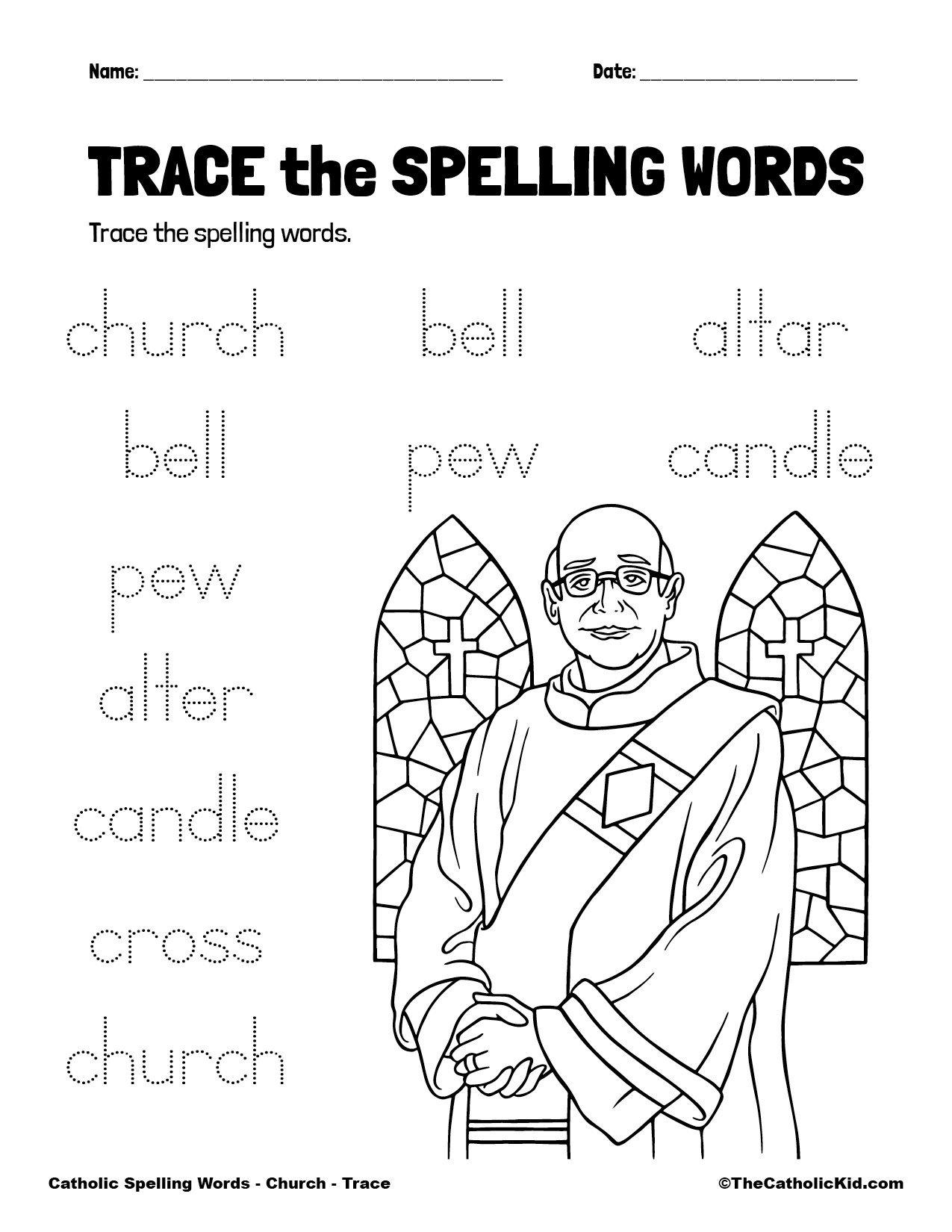 Catholic Spelling & Vocabulary Words Church Worksheet 2 Trace