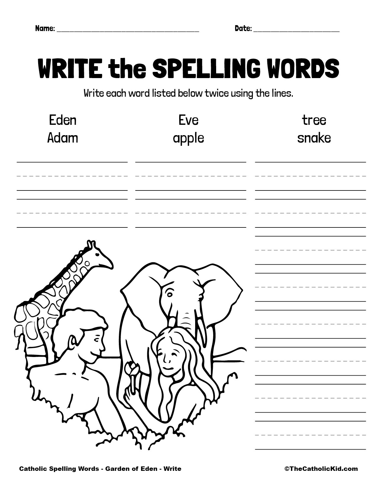 Catholic Spelling & Vocabulary Words Garden of Eden Worksheet 3 Write