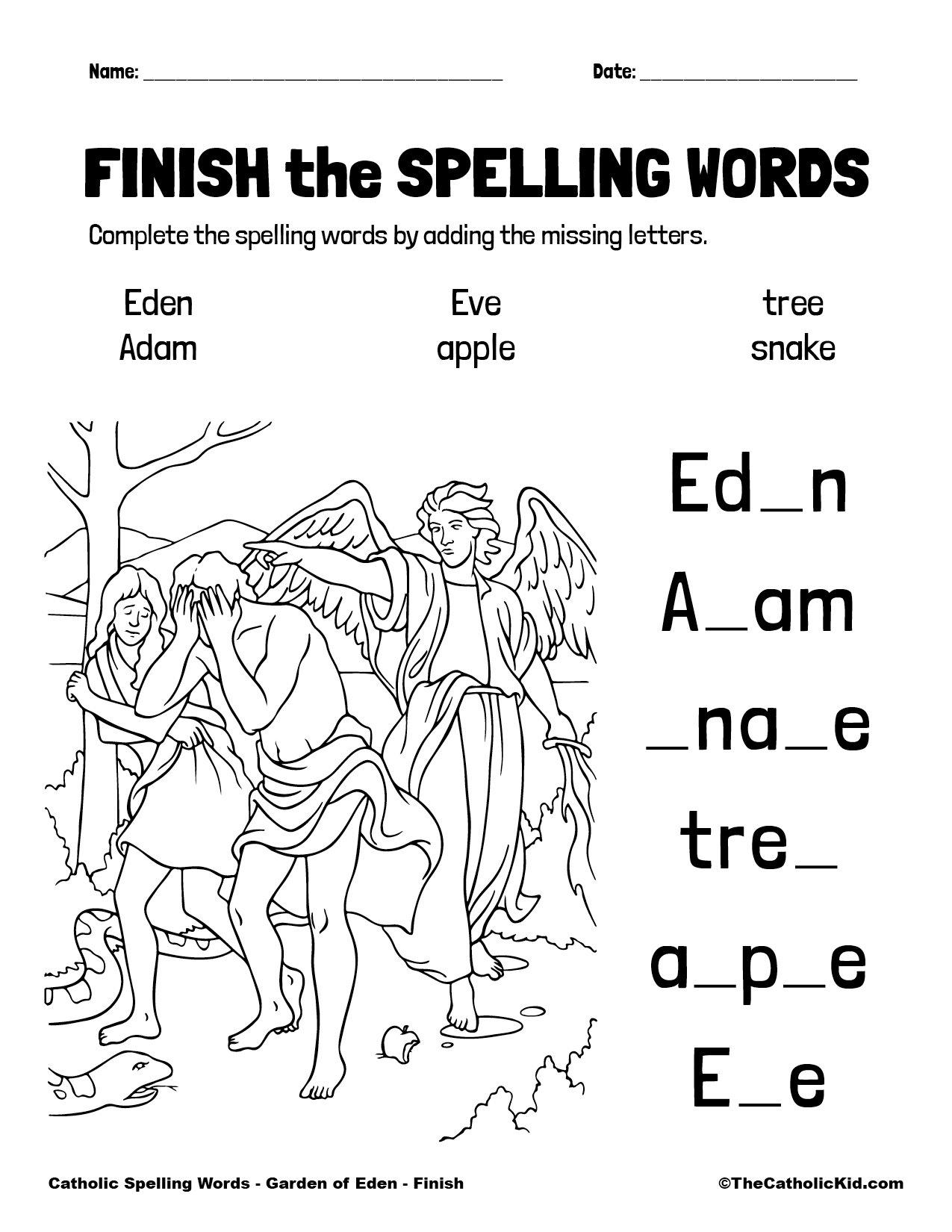 Catholic Spelling & Vocabulary Words Garden of Eden Worksheet 4 Finish