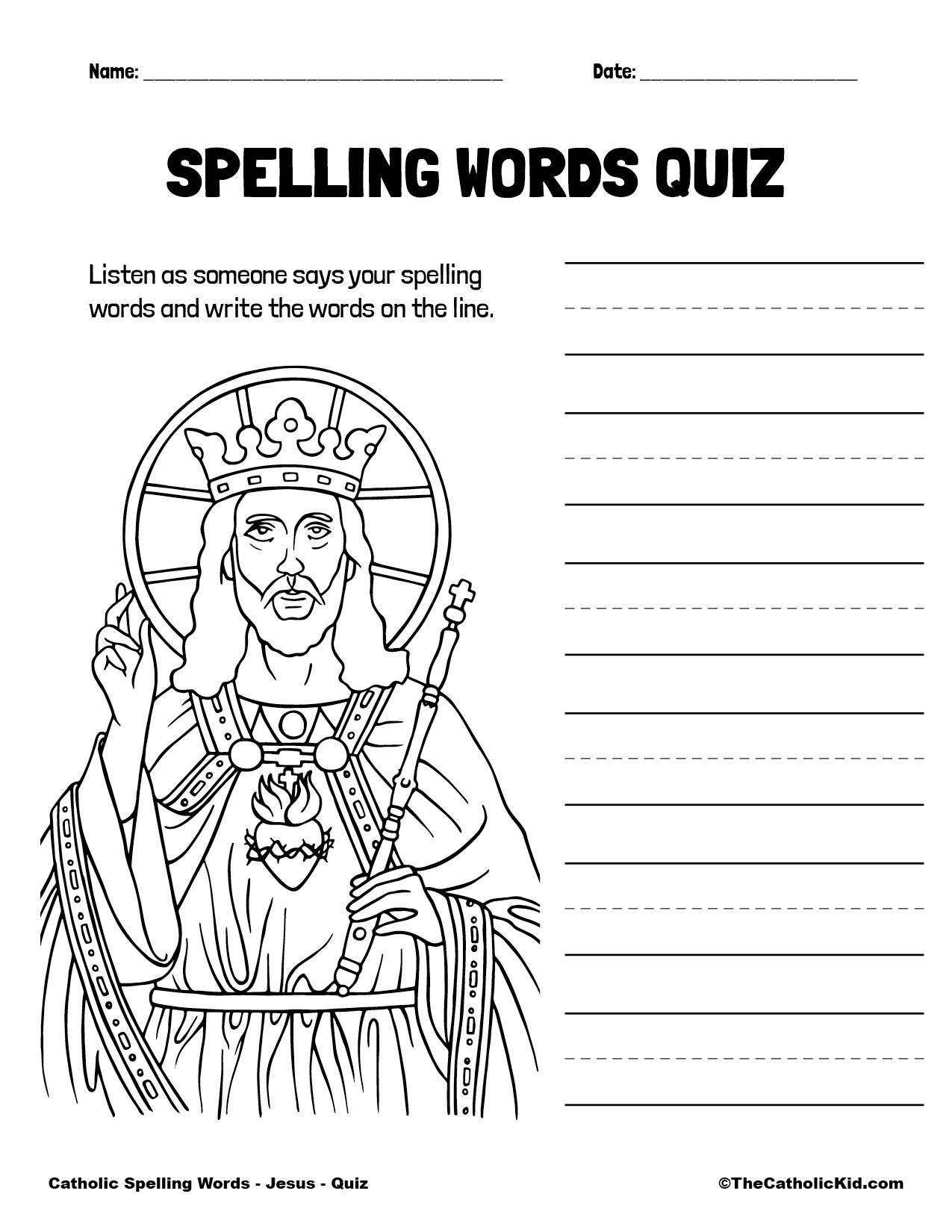 Catholic Spelling & Vocabulary Words Jesus Worksheet 5 Quiz