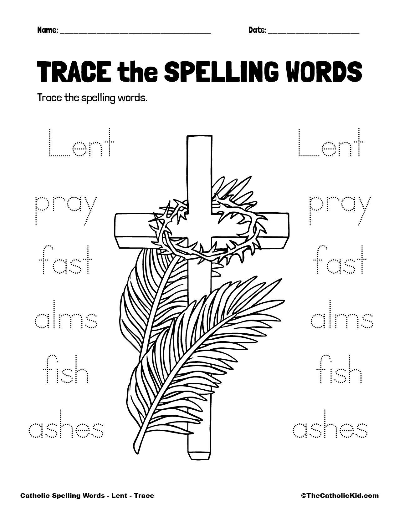 Catholic Spelling & Vocabulary Words Lent Worksheet 2 Trace