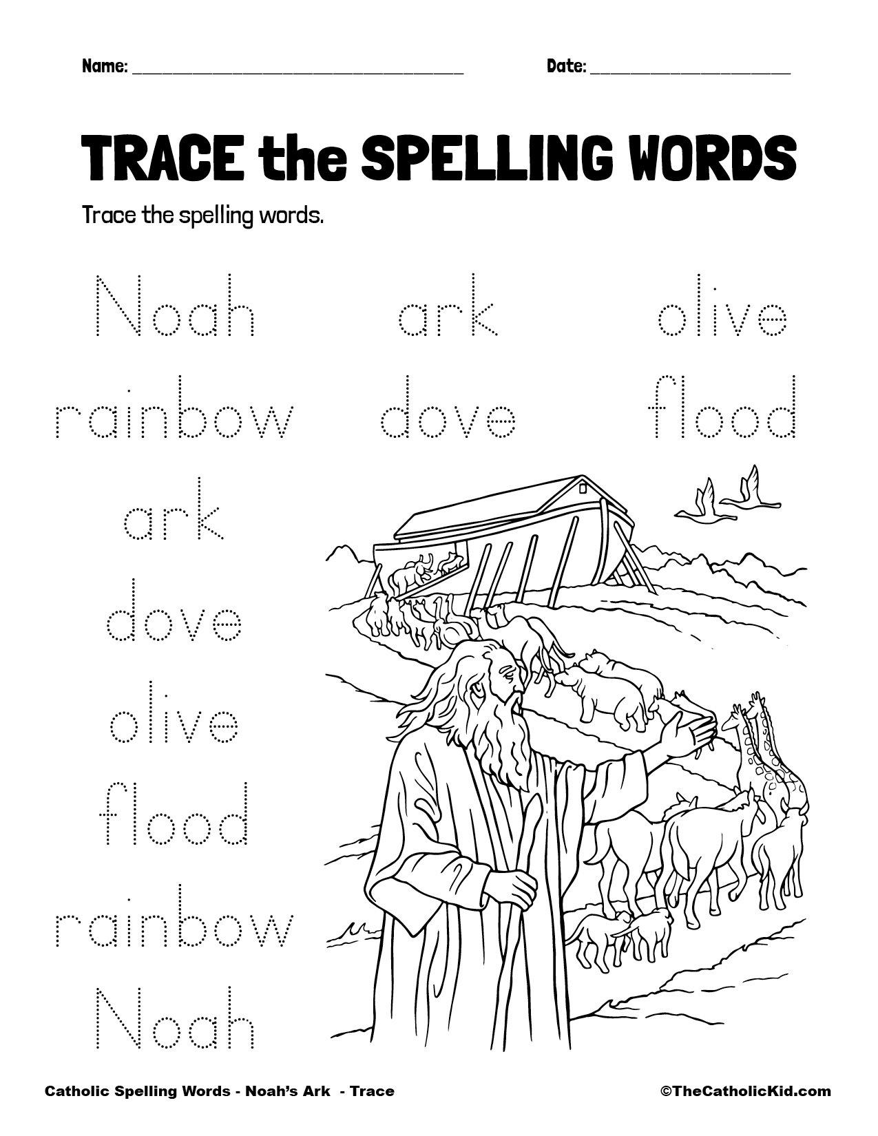 Catholic Spelling & Vocabulary Words Noah's Ark Worksheet 2 Trace