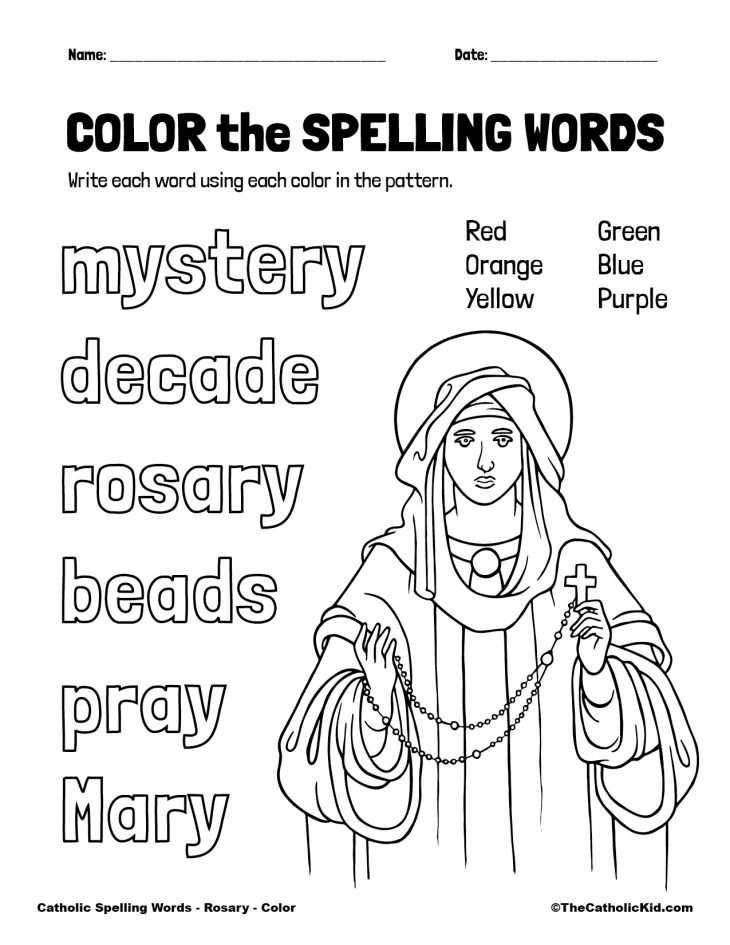 Catholic Spelling & Vocabulary Words Rosary Worksheet 1 Color