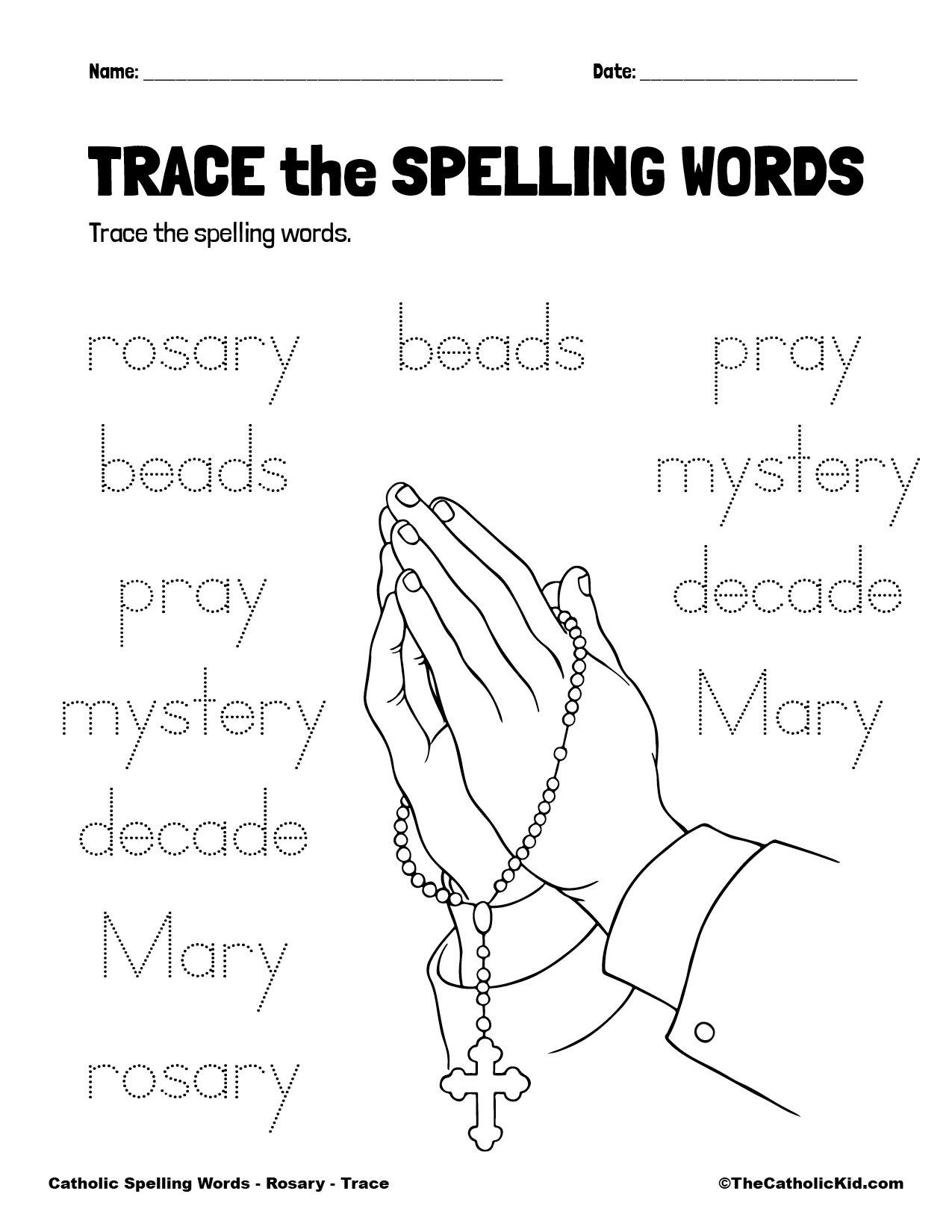 Catholic Spelling & Vocabulary Words Rosary Worksheet 2 Trace