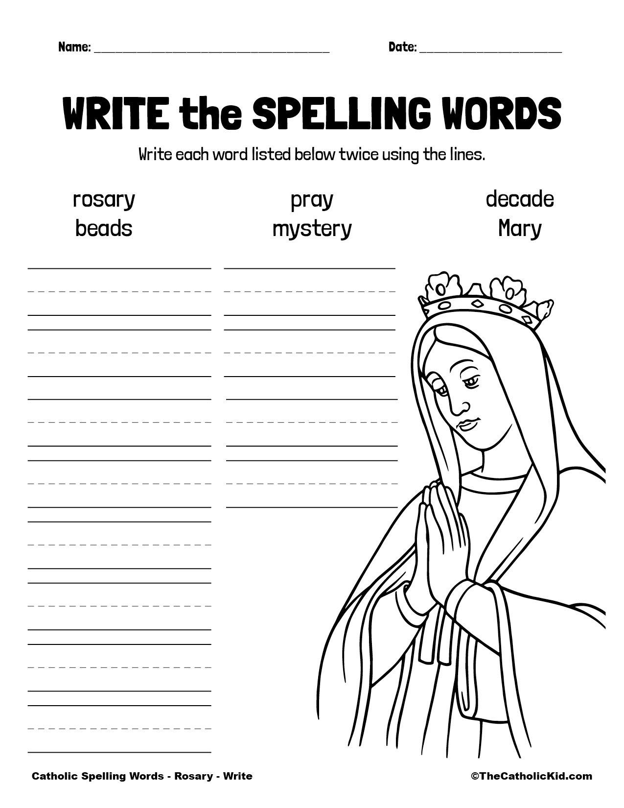 Catholic Spelling & Vocabulary Words Rosary Worksheet 3 Write