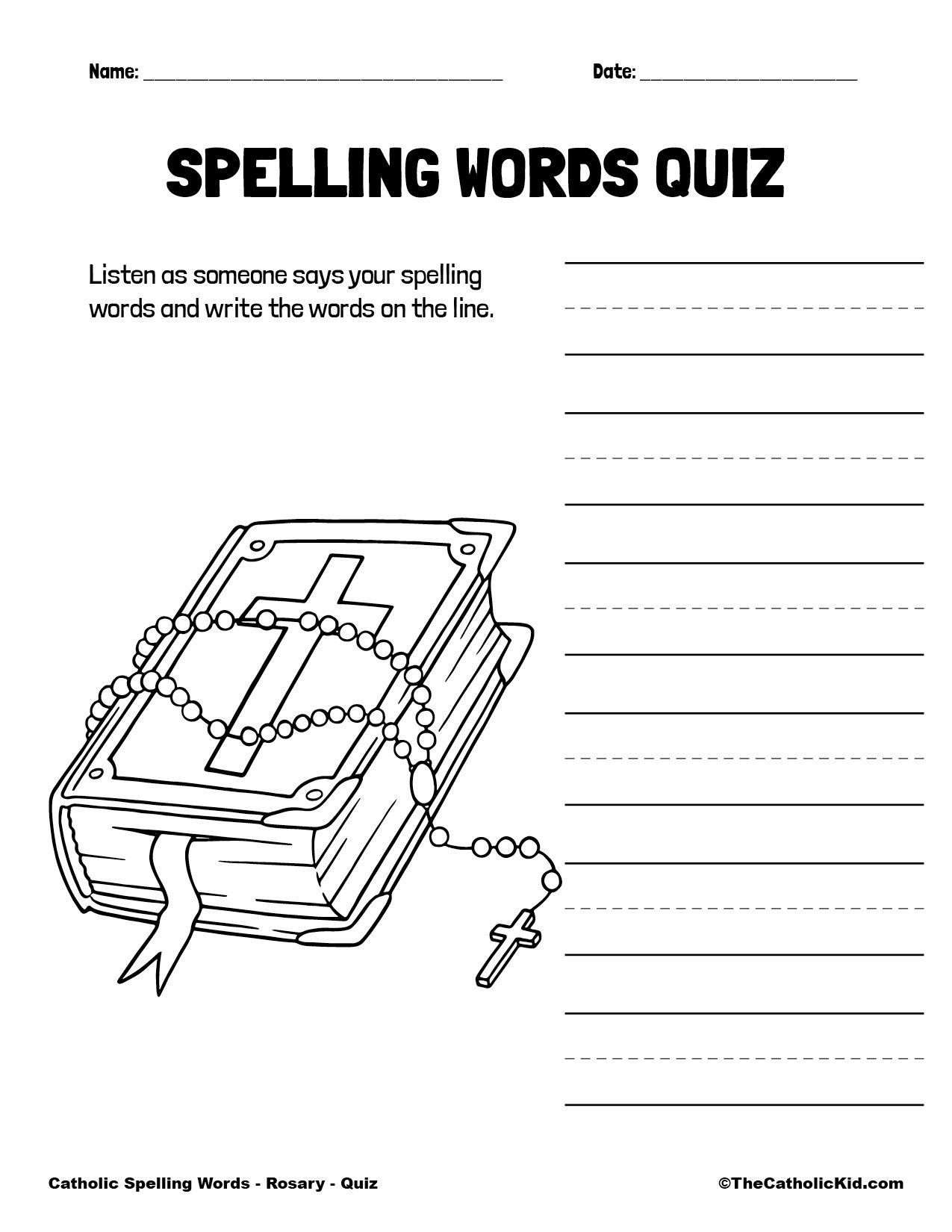Catholic Spelling & Vocabulary Words Rosary Worksheet 5 Quiz