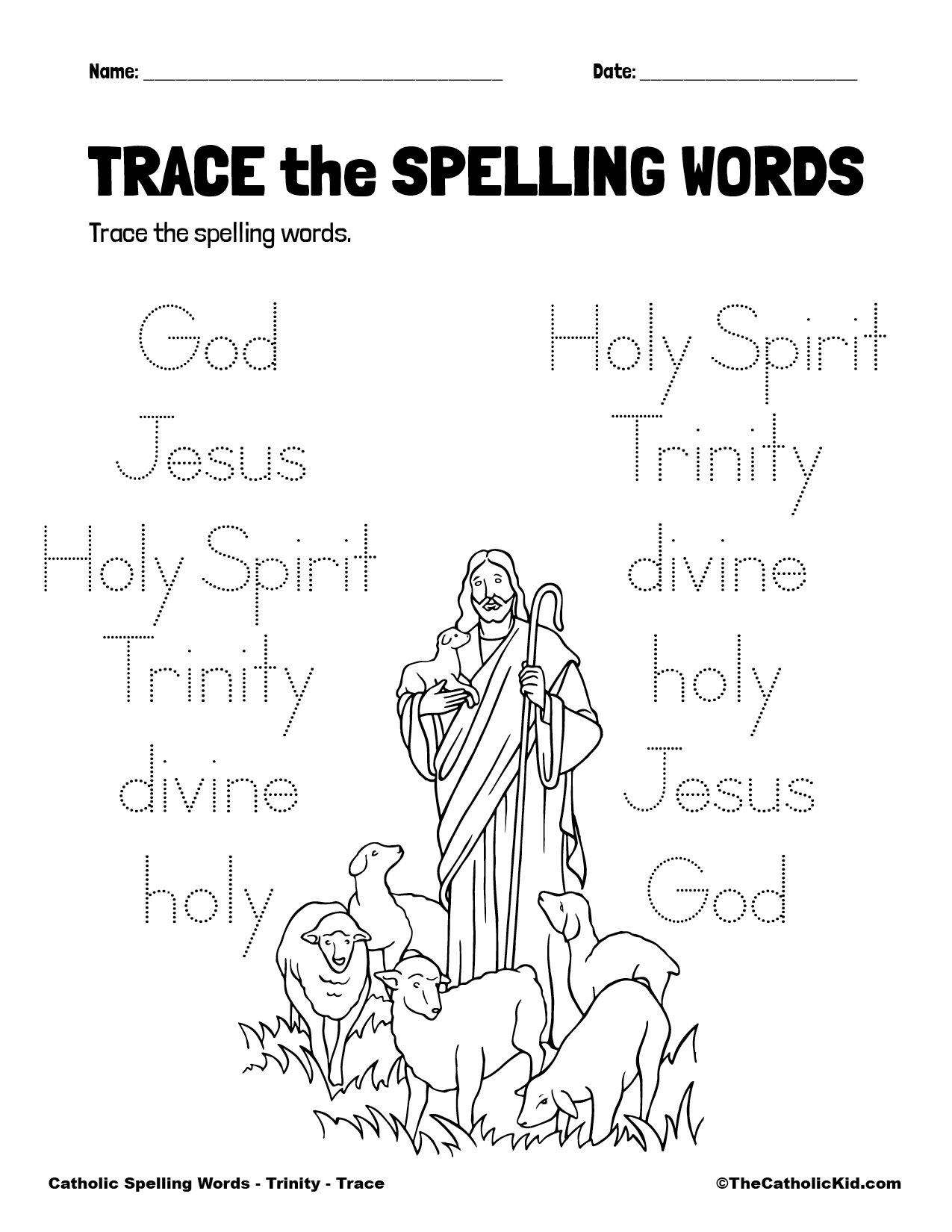 Catholic Spelling & Vocabulary Words Trinity Worksheet 2 Trace
