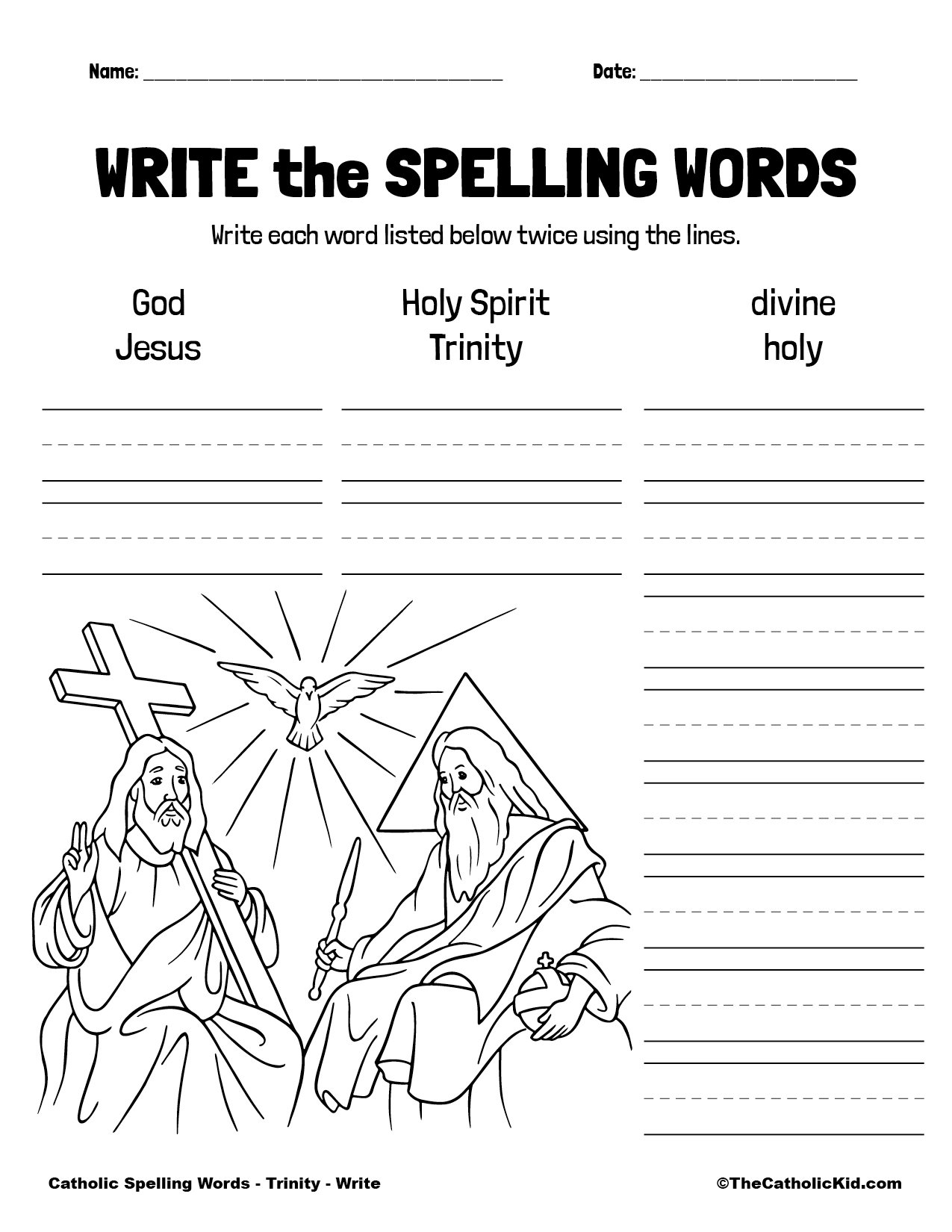 Catholic Spelling & Vocabulary Words Trinity Worksheet 3 Write