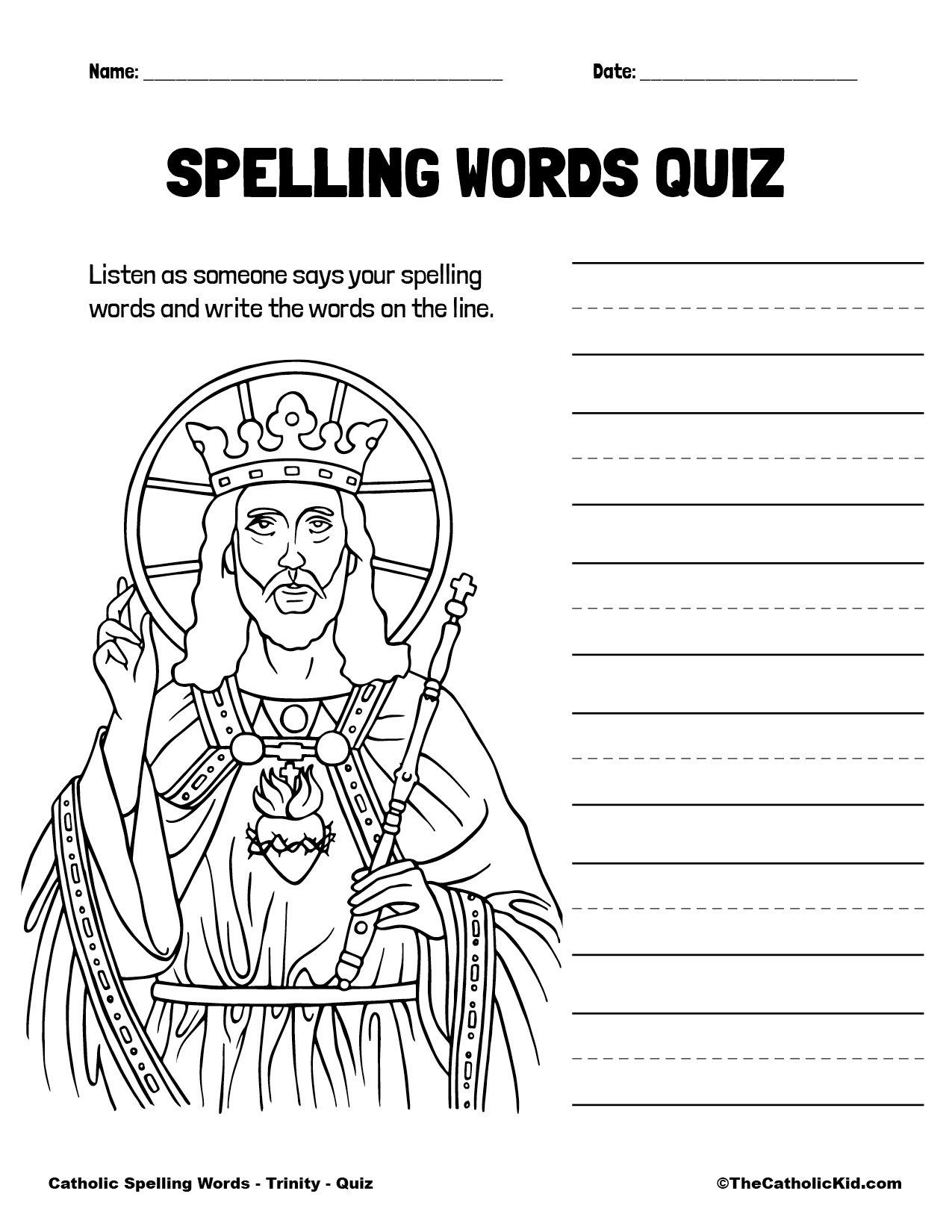 Catholic Spelling & Vocabulary Words Trinity Worksheet 5 Quiz