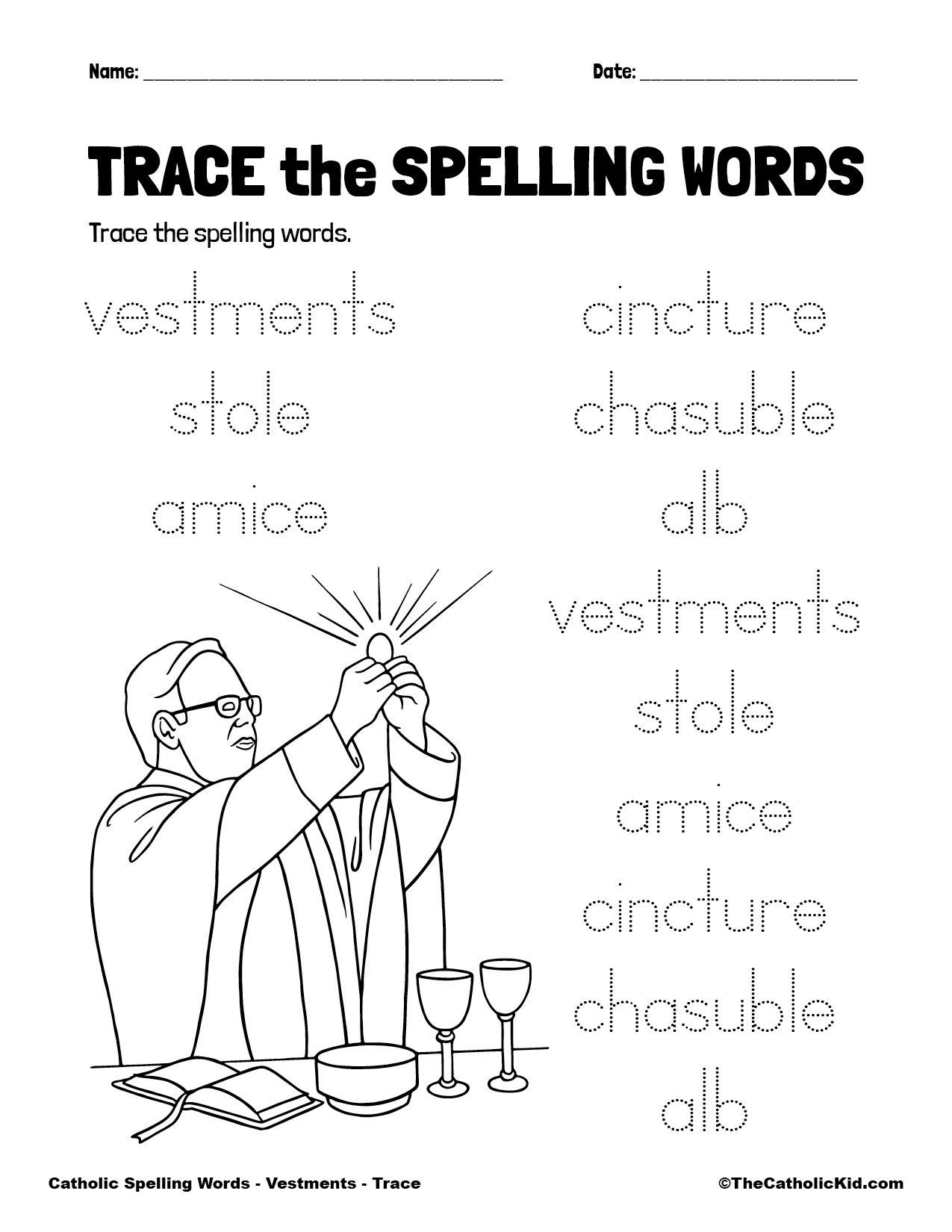 Catholic Spelling & Vocabulary Words Vestments Worksheet 2 Trace