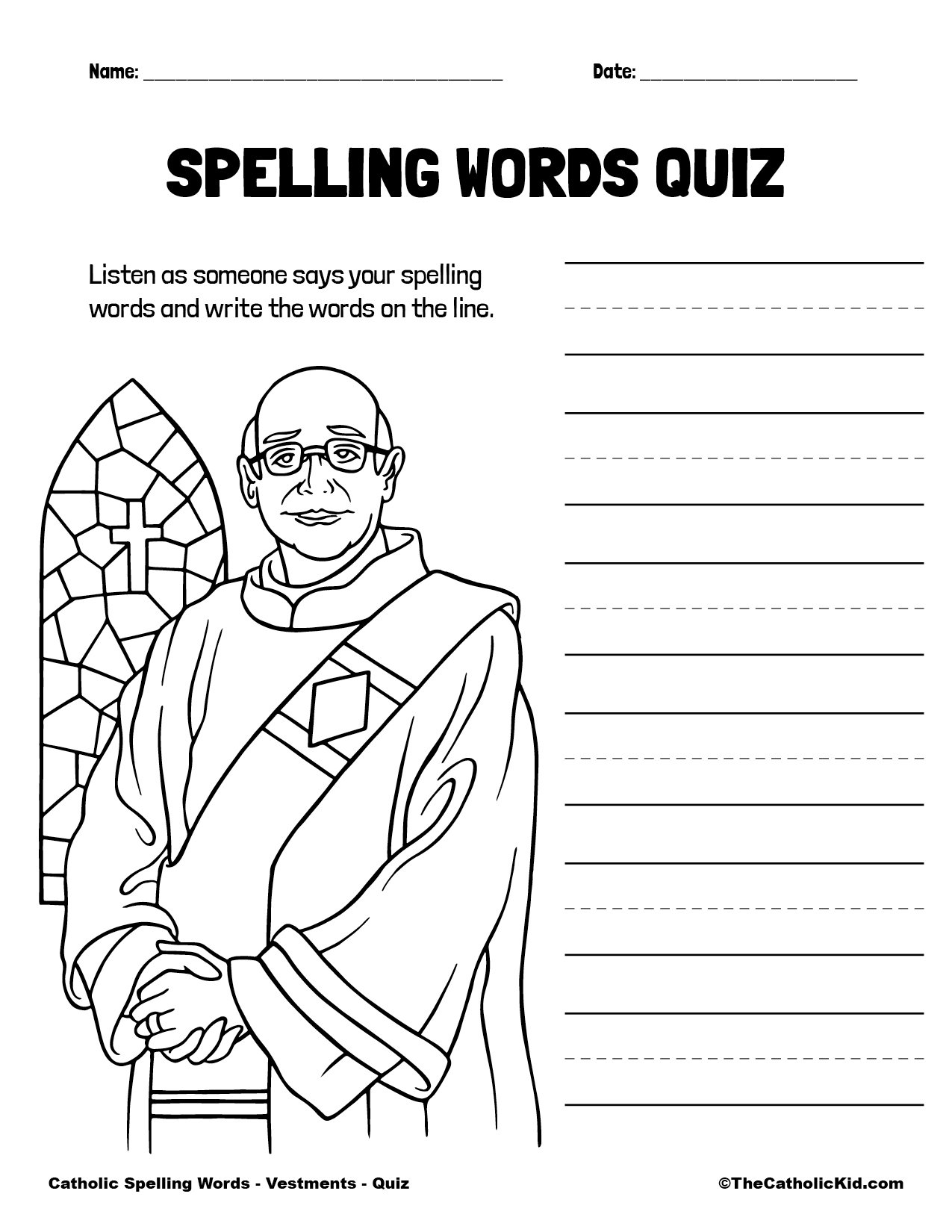 Catholic Spelling & Vocabulary Words Vestments Worksheet 5 Quiz