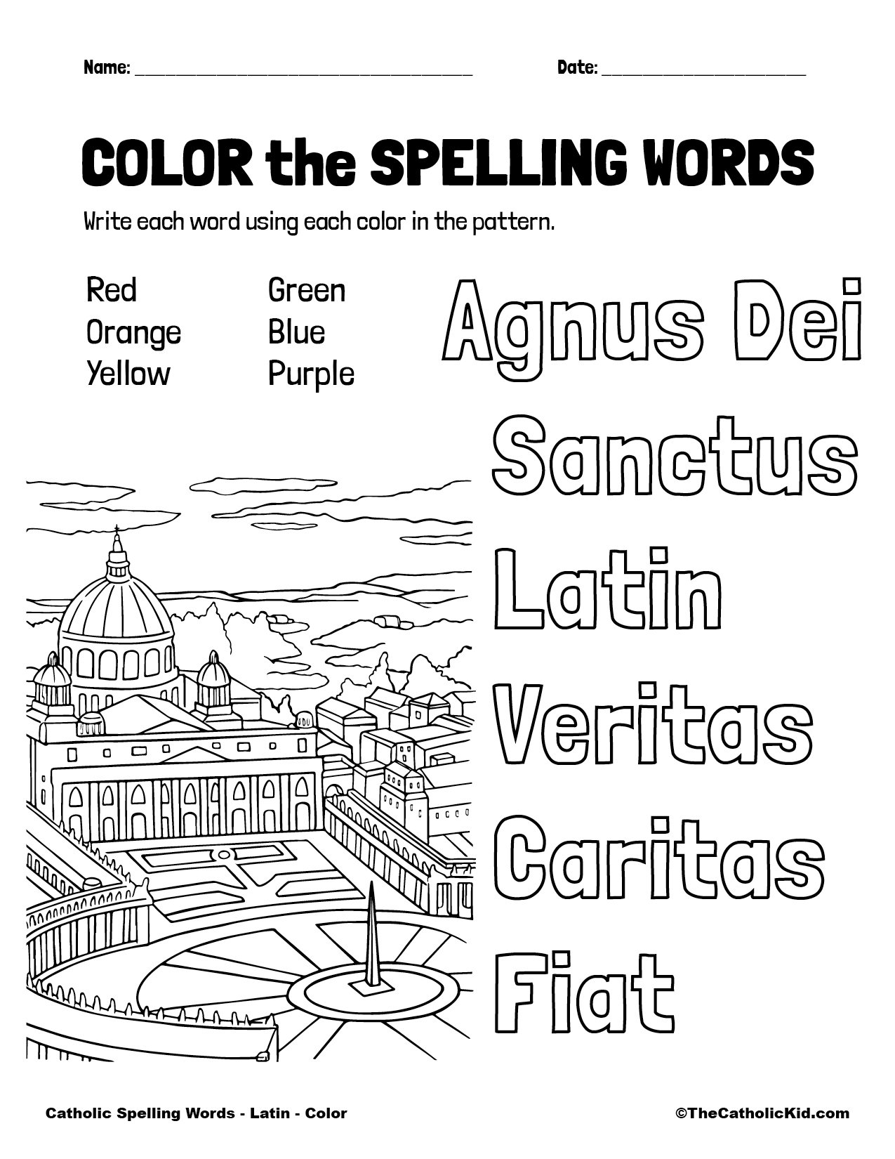 Catholic Spelling & Vocabulary Words Latin Worksheet 1 Color
