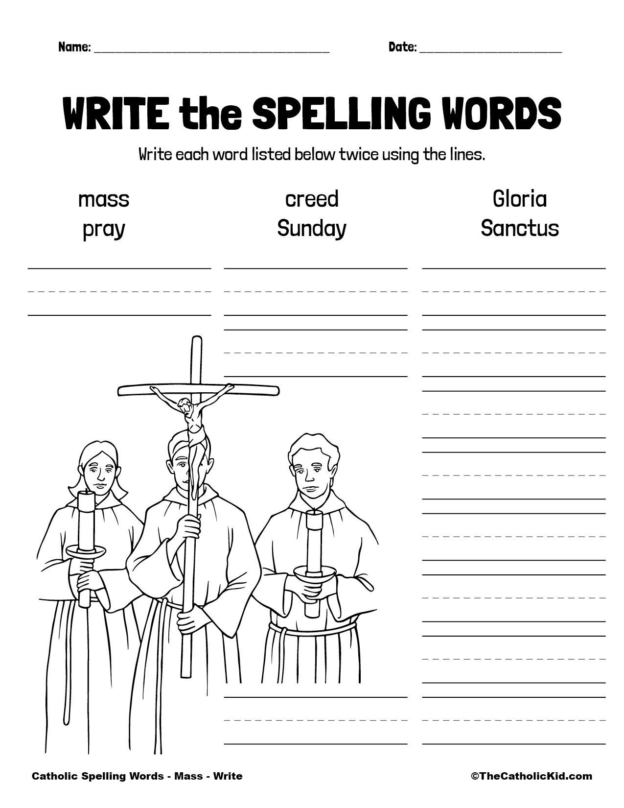 Catholic Spelling & Vocabulary Words Mass Worksheet 3 Write