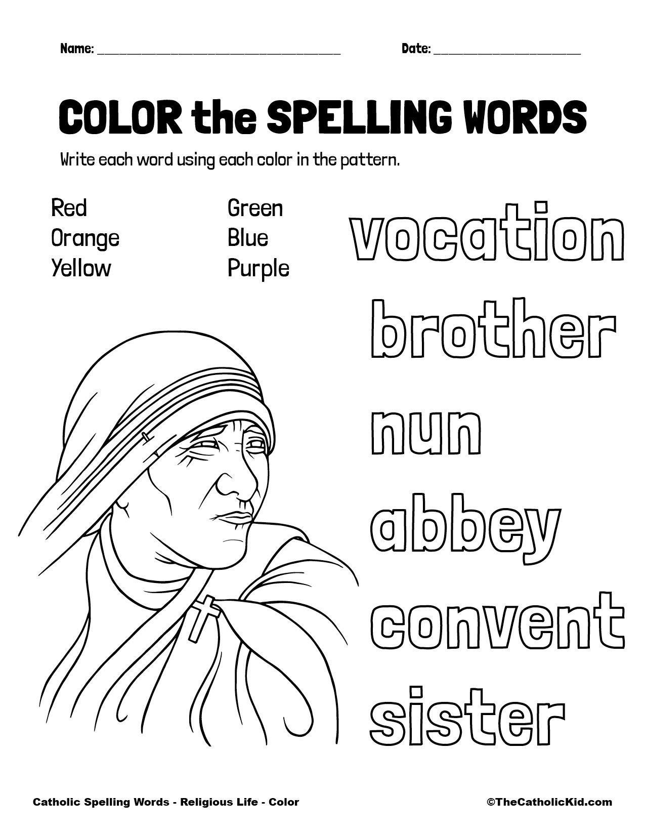 Catholic Spelling & Vocabulary Words Religious Life Worksheet 1 Color