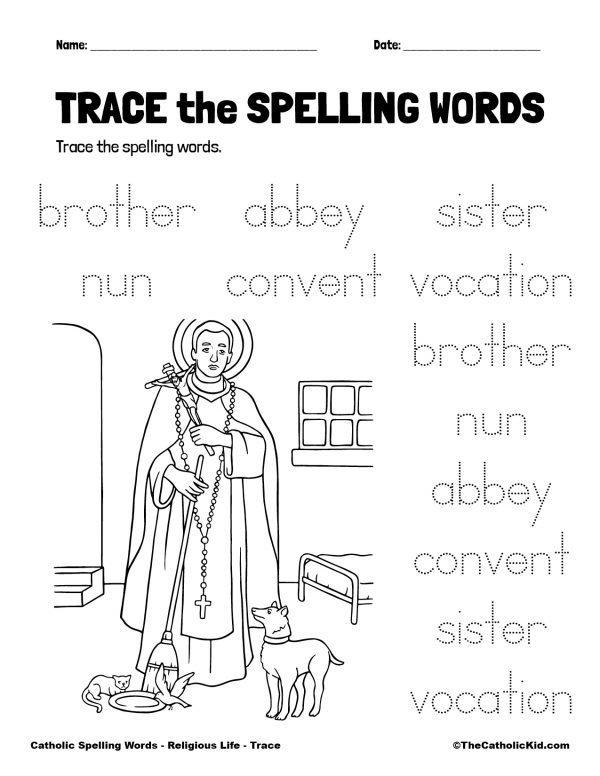 Catholic Spelling & Vocabulary Words Religious Life Worksheet 2 Trace