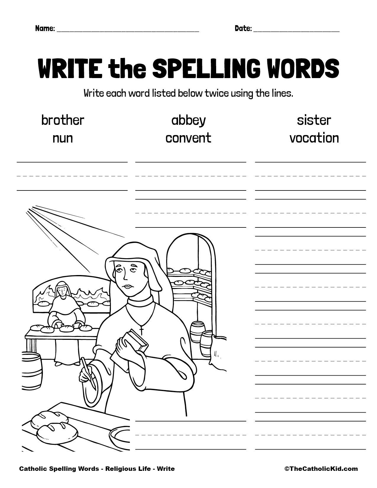 Catholic Spelling & Vocabulary Words Religious Life Worksheet 3 Write