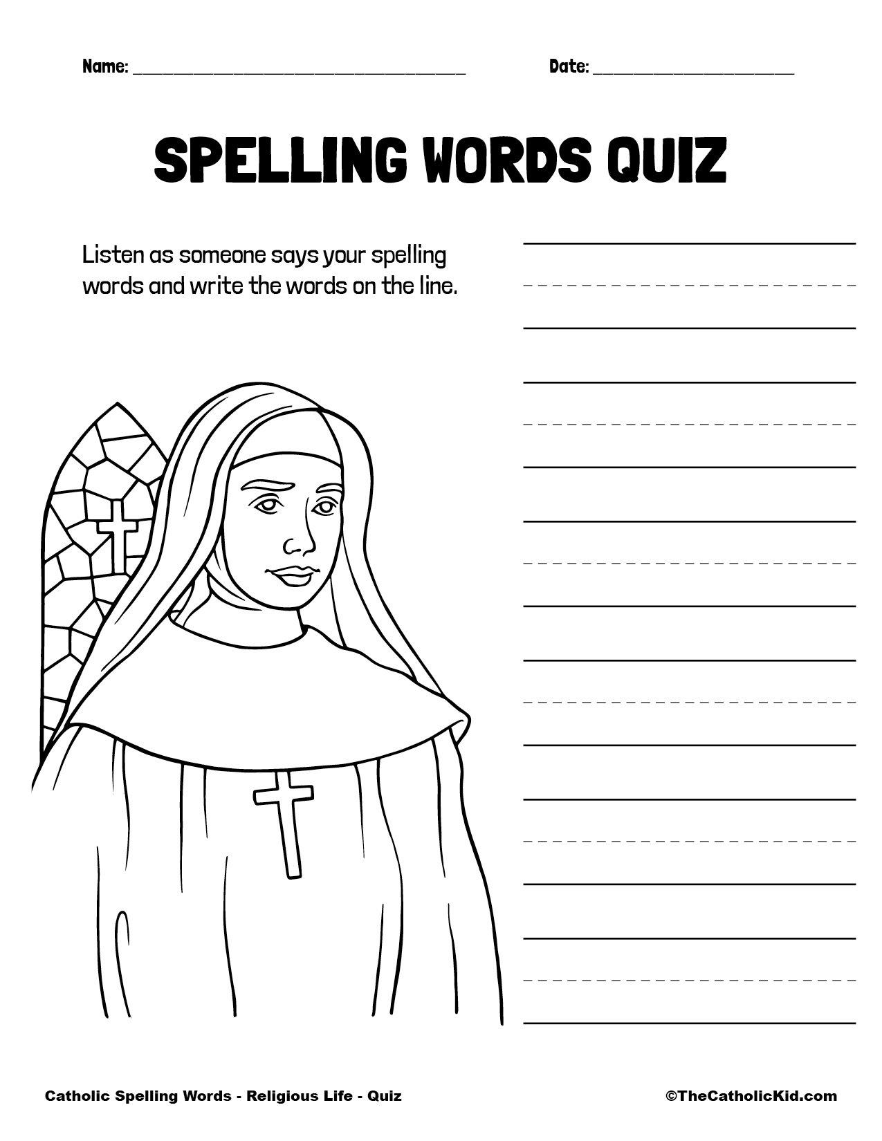 Catholic Spelling & Vocabulary Words Religious Life Worksheet 5 Quiz