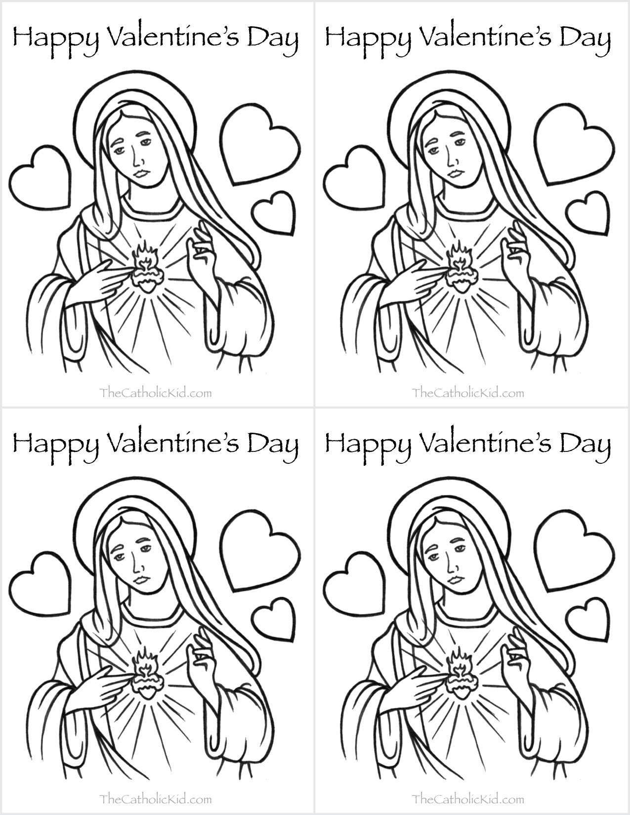Catholic Valentines Day Cards Mary Heart Coloring Page