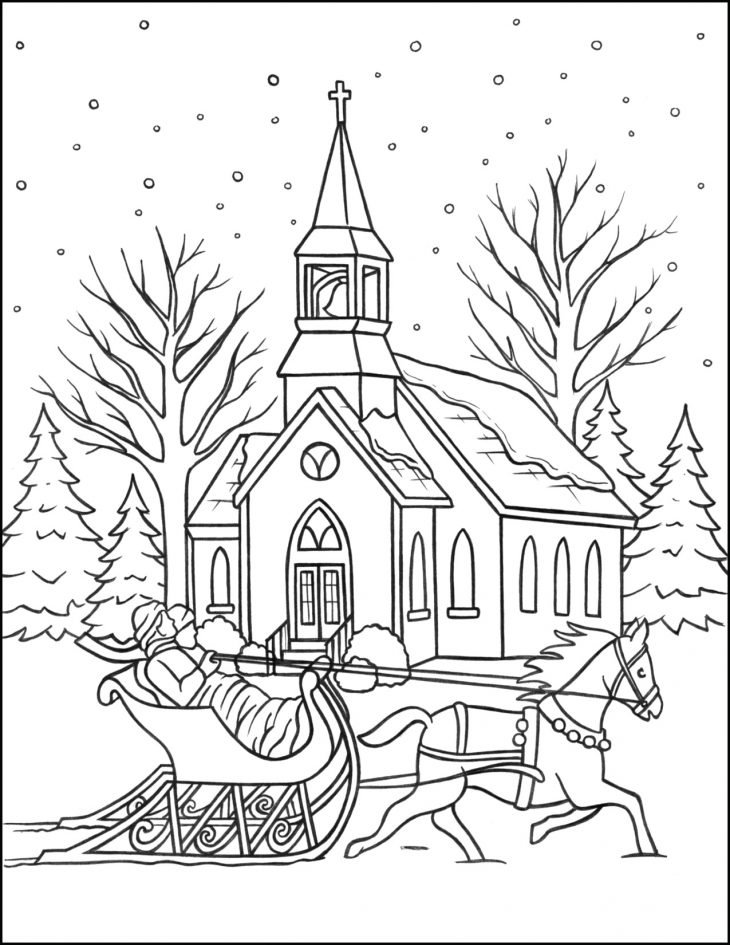 Christmas Coloring Page Sleigh Ride