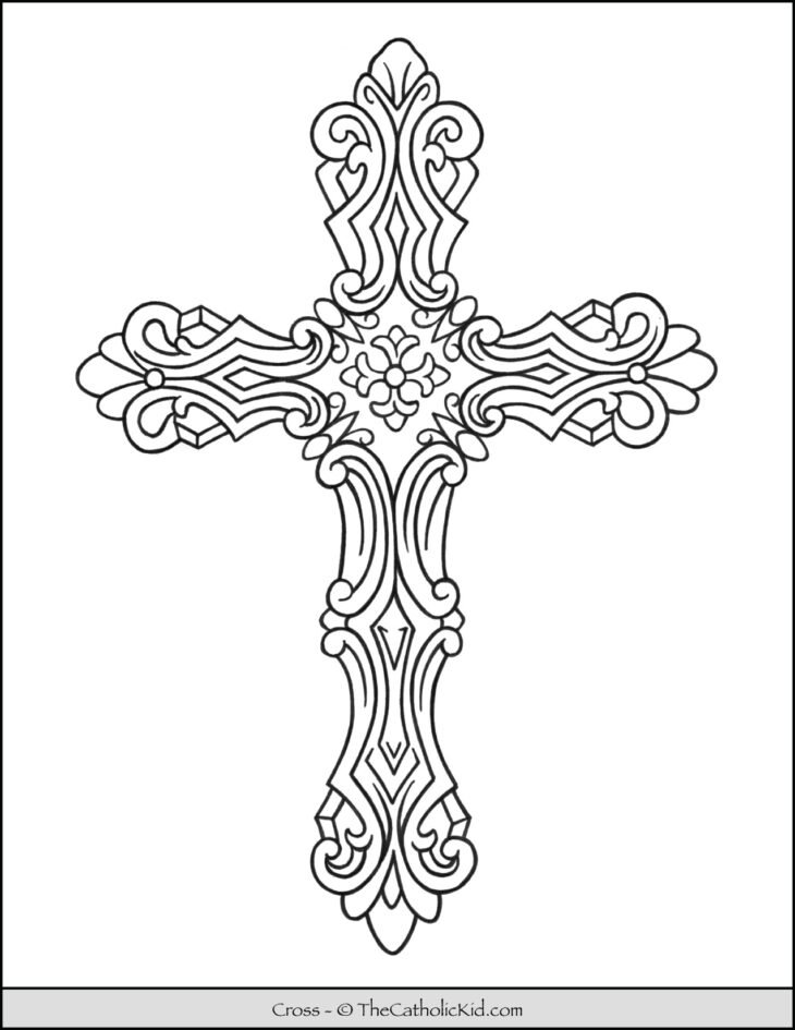 Cross Coloring Page Ornate